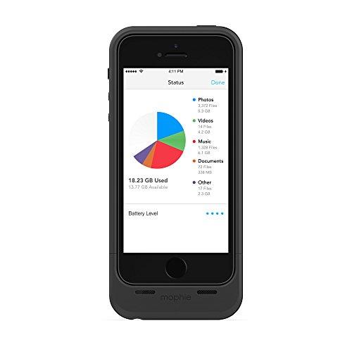 Mophie Space Pack - Carcasa con batería y Almacenamiento Adicional Integrado de 32 GB para Apple iPhone 5/5S (Certificado MFi), Negro
