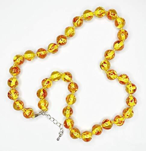 Collar hecho a mano de cuentas redondas de Bodhi, collar de resina, ámbar, oración, cadena corta, gargantilla, joyería de cera de abejas de imitación, cadena budista, 45Cm, B492-Collar, 45Cm, 12Mm