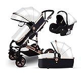 Znesd Bebé 3 en 1 carro de bebé con convertible assinet reversible e IMPACTO, Almacenamiento extra-grande, su durabilidad, diseño plegable compacto (Color : White)