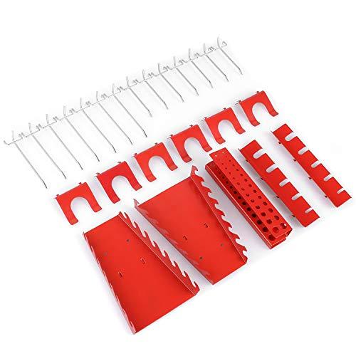 FIXKIT Werkzeugwand 25 teilige Metall-Haken Set Werkstatt Garage Schwerlast-Gerätehalter Haken für Lochwand - Montagehaken-Set für Werkzeug-Halterung (Geeignet für Model 1)