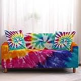Funda Sofa Chaise Longue Brazo Derecho Graffiti Abstracto de Color Fundas de Sofa Elasticas Fundas para Sofá Ajustables Estampada Cubre Sofa con 1 Funda de Cojín