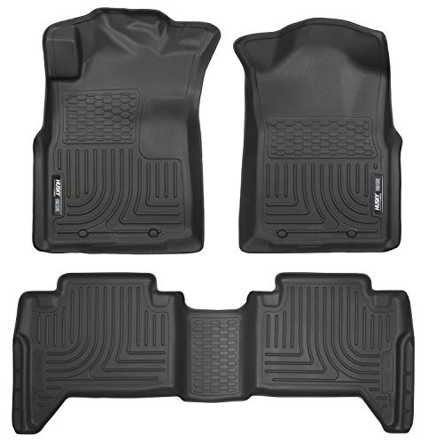 Husky Liners 98951 Black Weatherbeater Front & 2nd Seat Floor Mats (Footwell Coverage) Fits 2005-15 Toyota Tacoma Double Cab