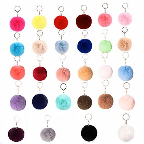 ZHANGTING 28PCS Llaveros de Pompon, 8 cm Pompones de Colores Llavero, para Bolso, Mochila, Teléfono móvil, Llavero de Coche