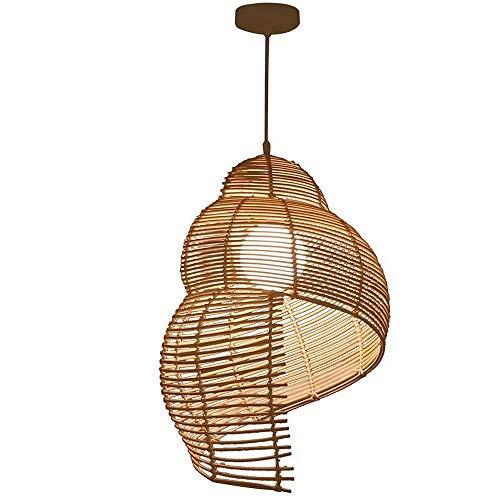 Lámpara de araña de caracol de ratán, pantalla de bambú tejida a mano, lámpara colgante colgante, balcón pastoral, cafetería, restaurante, accesorios de iluminación de techo con base E27
