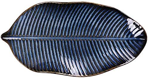 Placa de fruta de cerámica creativa nórdica, artesanía subterránea que cambia el horno, Plato grande de pescado al vapor, Bandeja en forma de hoja, Plato de cerámica comercial para restaurantes