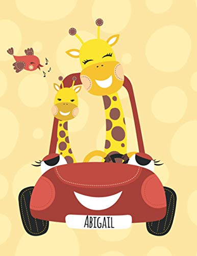 Abigail: Personalized giraffe sketchbook drawing & journal , 100 Pages, ''8.5x11'', Soft Cover, Matte Finish for Girls who loves giraffes. Gift for Kids ,
