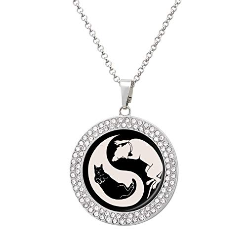 Necklace For Women Men Cat-Dog Yin Yang Pendant Gemstones Jewelry, Hip Hop Round Necklace Memorial Necklace, Silver