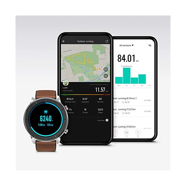 "Amazfit GTR Smartwatch, Smart Notifications, 1.39"" AMOLED Display, 24/7 Heart Rate Monitor, 24-Day Battery Life, 12-Sport Modes (47mm, GPS, Bluetooth), Stainless Steel"