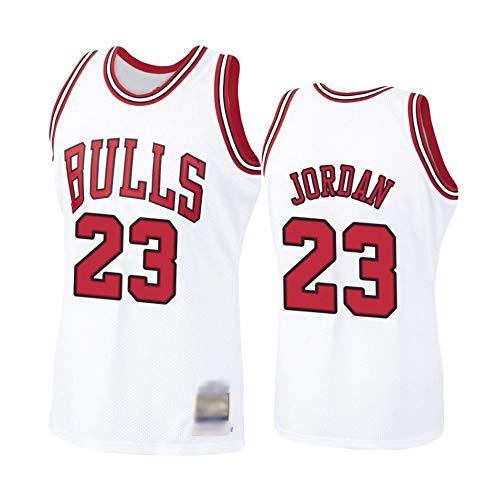 Camiseta de Baloncesto para Hombre, NBA, Chicago Bulls #23 Michael Jordan. Bordado, Transpirable y Resistente al Desgaste Camiseta para Fan (Blanca, M)