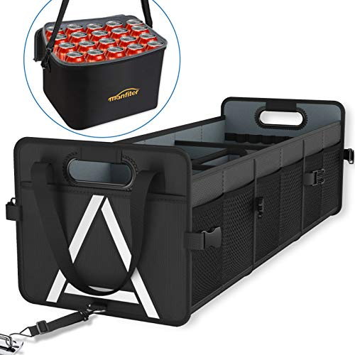 Car Trunk Organizer with Insulated Cooler Bag Removable, 3 Compartments Black...