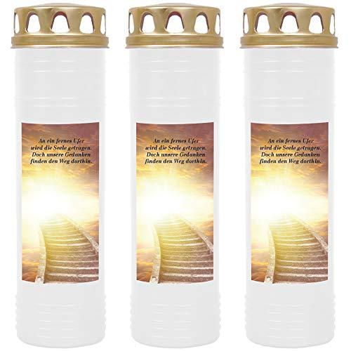 HScandle Grabkerze - 3er Pack - (Weiß) Grablicht ca. 7 Tage Brenndauer je Kerze - Motiv: Treppe