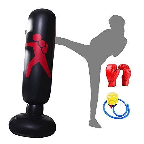 Aufblasbarer Boxsack Freistehender Aufblasbarer Boxsack Ziel Schwerer Trainings-Fitness-sandsack Mit Pedalpumpe Und Boxhandschuhen Für Erwachsene, Um Stress Abzubauen