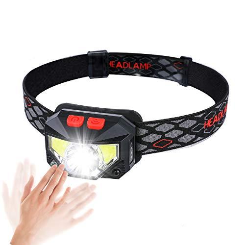 OUTERDO Lampe Frontale LED, Phare Super Lumineux avec 8 Modes d'éclairage COB Lampe Capteur Avertissement Feu Rouge, 9 Torche Principale Imperméable Rechargeable d'USB pour Camping/Pêche/Escalade