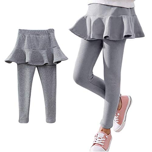 Ehdching Little Girls Footless Leggings with Ruffle Winter Pantskirt Solid Color Pants Grey