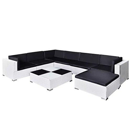 FZYHFA Ensemble canapés de Jardin 24 pièces en polyrotin Blanc Design Simple et Pratique, Stable et Durable Ensemble canapé d'extérieur canapé de Jardin