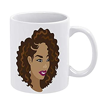 Glossy Ceramic Coffee Mug Coffee Mug Tea Cup,Woman With Natural Hair Styles Fantasy Tea Cup for Office and Home Funny Fathers Day Mugs for Men President