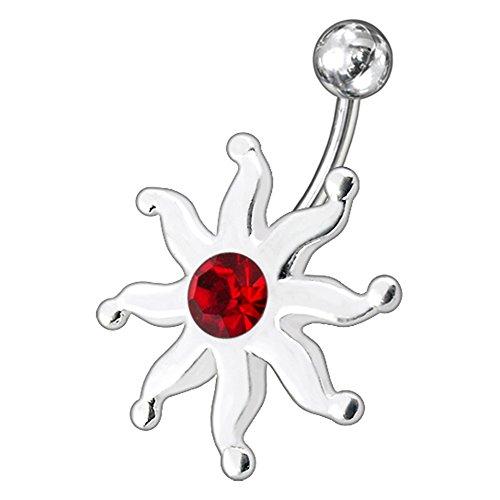 Rote Kristall Steinen Stein Fancy Sonne Sterling Silber Bauch Bars Piercing