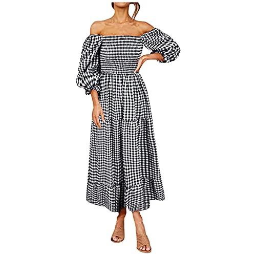 ERNUMK Falda de verano para mujer, estilo informal, bohemio, con un hombro, manga media, vestido sexy, Negro , XL