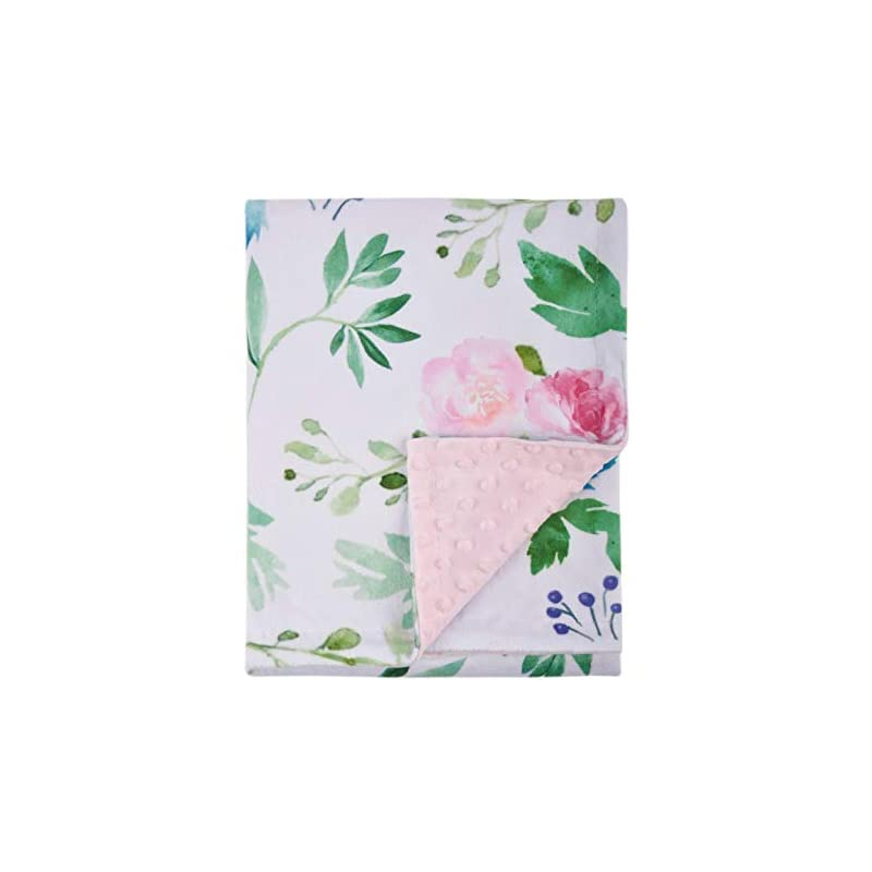 crib bedding and baby bedding baby blanket for girls super soft double layer minky with dotted backing, receiving blanket with pink floral multicolor printed blanket 30 x 40 inch(75x100cm)