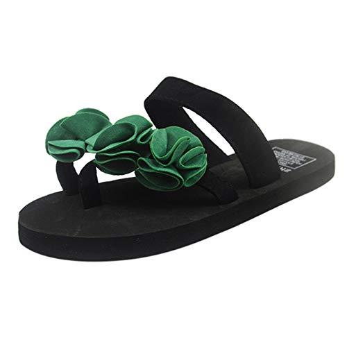 Xmiral Slipper Damen Flip-Flops Sandalen Blumen Schuhe Home Outdoor Strand Slippers(40,b-Grün)