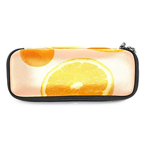 Estuche de piel con tapa para bolígrafo de dibujos animados, color naranja