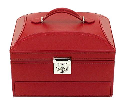 Friedrich23 Schmuckkoffer – Schmuckkasten Cordoba klein aus Leder in rot - Spiegel und automatisches Schubfach