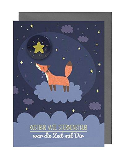 Trauerkarte für Babys/Kinder (Sternenkind, Fehlgeburt) mit Stern-Button + Umschlag (Motiv: Fuchs)