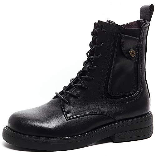 XINDONG Mujer Botines Martin Botas Retro Zapatos, Negro, 35