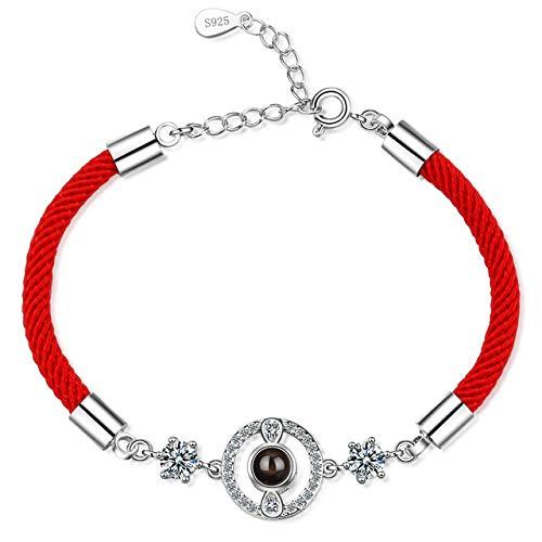 GYXYZB Rode draad Armband Betekenis Met Zirkonia 925 Sterling Zilver Touw Armband Veel Geluk Rode draad Armbanden Voor Vrouwen Sieraden