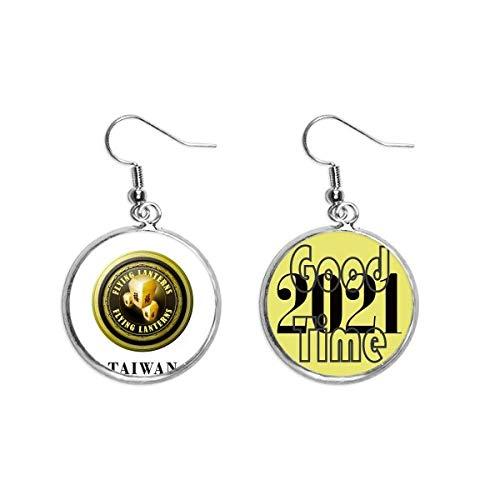 Ohrringe mit Taiwan-Logo, fliegende Laternen, Ohrringe, Schmuck, 2021, Glücksbringer