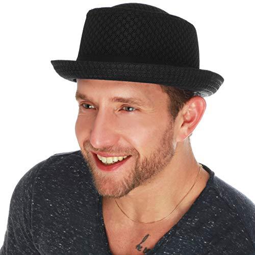 The Hat Depot Light Weight Classic Soft Cool Mesh Porkpie hat (L/XL, Black)