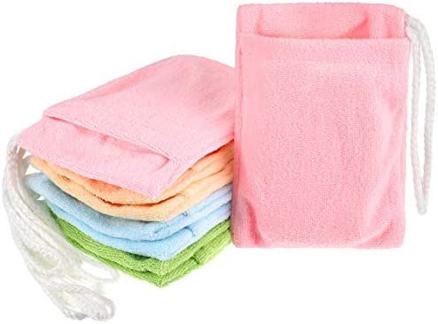 8 Pieces Soap Holder Bag Microfiber Soap Exfoliating Saver Bag Hanging Soap Saver Pouch Colorful product image