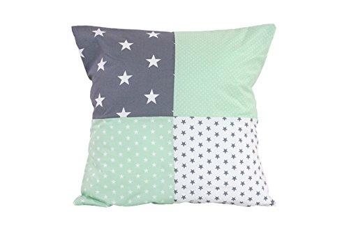 ULLENBOOM ® patchwork kussenhoes l 40x40 cm l ideaal als sierkussen voor de kinderkamer en babykamer I mint grijs