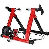 Cestbon Plegable magnético Bicicletas Trainer Párese Ciclismo Bastidor Soporte de la Bicicleta Cubierta Ejercicio de formación de 26-28 Pulgadas de neumáticos de Bicicletas,Rojo