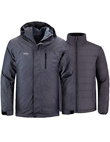 Wantdo Men Windproof Puffer Jacket Thicken Padded Winter Snow Coat Black&Gray M