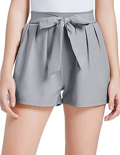 GRACE KARIN Women High Waist Solid Summer Casual Shorts XL Light Gray