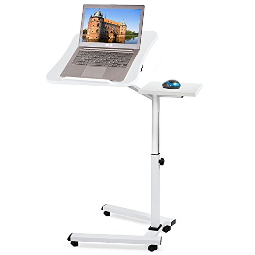 Tatkraft Like Tavolo Porta Laptop su Ruote, Bianco, Regolabile in Altezza con Piattaforma per Mouse 67 X 52 X 70-99.5 cm