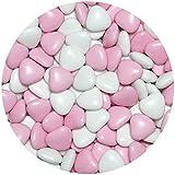 EinsSein 1kg Dragees mariage au chocolat cœur Mix médium blanc-rose brillant dragées baptême communion amandes feter et recevoir fêter de fete couleur pas cher aux bombe tag voir mes etui contenant