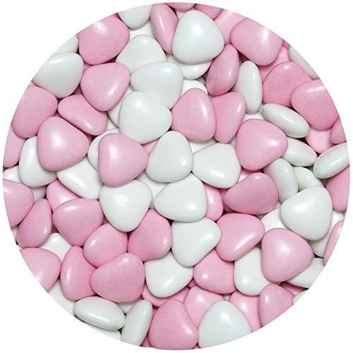 EinsSein 1kg Dragees mariage au chocolat cœur Mix médium blanc-rose brillant dragées baptême...