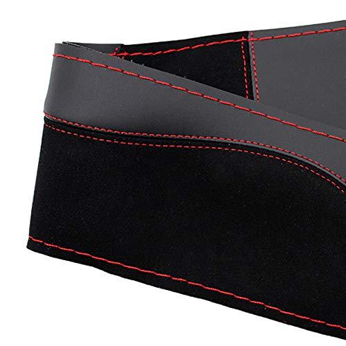 Funda de piel de ante para volante de coche, compatible con F-or-D Kuga 2008-2011 Focus 2 2005-2011 C-MAX 2007-2010 / Custom Steering Wrap trenzado rojo