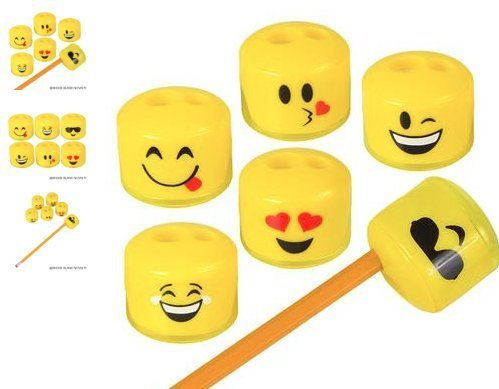 RIN (24) 1.5' Emoji Pencil and Crayon Sharpeners ~ Cute, Fun and Popular ~