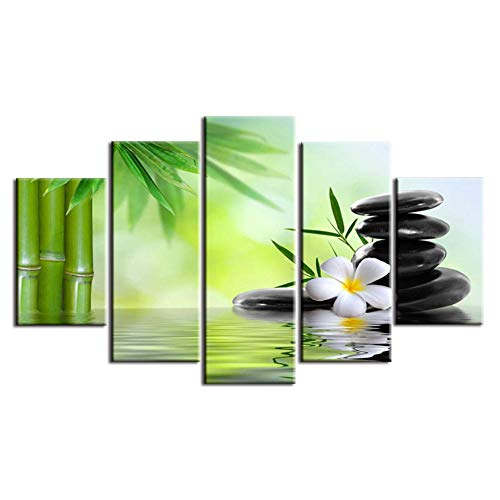 ZHJJD 5 Paneles De Arte De Pared De Flores Buda Poster De Bambú Pinturas Horizontales Modernas Cuadros De Lienzo De Bambú...