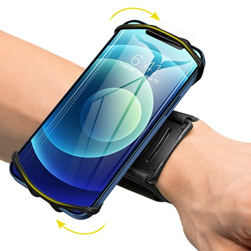 VUP Wristband Phone Holder, 360° Rotatable Forearm Armband for iPhone 12/12 Pro/12 Mini/SE 2020/11/11 Pro/Xs/XR/X/8/7/Plus, Fits All 4-6.7 Inch Smartphones, Great for Hiking Biking Running (Black)