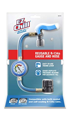 InterDynamics EZ Chill Car Air Conditioner R134A Refrigerant Gauge and Hose, Reusable AC Recharge Kit, EZC110-4