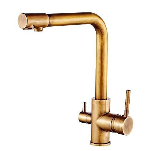 AXWT Faucet Moderno Grifo de Cocina, Grifo de Cocina de 3 vías con Filtro Water Way, Mango Dual Tapas de Agua Potable 3 vías Bronce Mezclador de Cocina Toque Gira con Accesorios