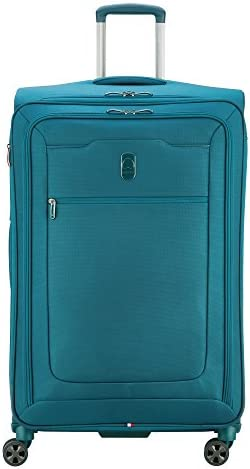 DELSEY Paris Hyperglide Softside Expandable Luggage with Spinner Wheels Teal Blue Checked Large product image
