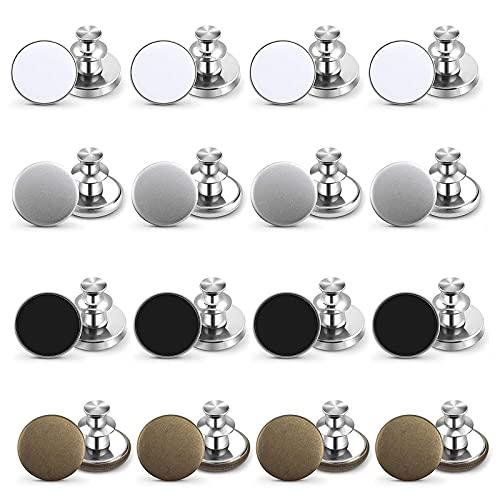 Botones Desmontables 16 juegos de Reemplazo de Botón de Pantalón Sin Costuras Botón de Metal 17 mm Reparación de la Chaqueta de Mezclilla Botón de Presion Tamaño de Jeans Ajustables