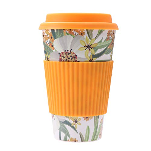 BESTONZON Fibra di bambù Ambientale Tazze da caffè con Coperchio al Calore per tè o caffè Spruzzi d' Acqua (Arancione)