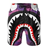 NiYoung Swim Trunks for Boys Mens, Board Shorts Elastic Waistband Regular & Extended Sizes Bathing Suits for Beach Athletic Surf, Bapes Camouflage Purple Shorts with Drawstring