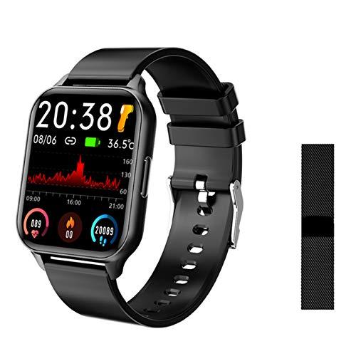 ZYY Q26 Ladies Men Smart Electronic Watch 1.7 Pulgadas De Lujo De Lujo Pantalla Sanguínea Monitoreo De La Presión Arterial Calorie Reloj Deportivo para Android iOS,E